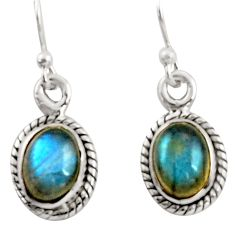 4.51cts natural blue labradorite 925 sterling silver dangle earrings r41112