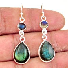 12.07cts natural blue labradorite 925 sterling silver dangle earrings r41166