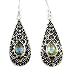 3.86cts natural blue labradorite 925 sterling silver dangle earrings r42070