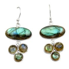 14.92cts natural blue labradorite 925 sterling silver dangle earrings r42295