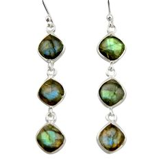 10.28cts natural blue labradorite 925 sterling silver dangle earrings r42298