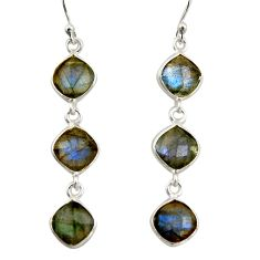 10.02cts natural blue labradorite 925 sterling silver dangle earrings r42299