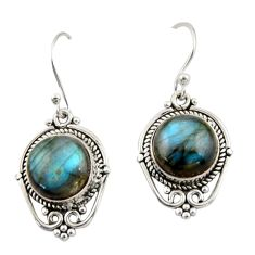 8.41cts natural blue labradorite 925 sterling silver dangle earrings r42337