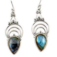 8.32cts natural blue labradorite 925 sterling silver dangle earrings r42357