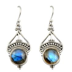 8.11cts natural blue labradorite 925 sterling silver dangle earrings r42377