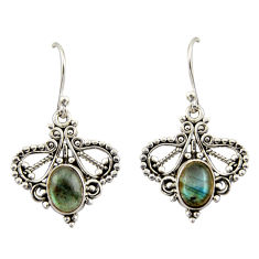 4.31cts natural blue labradorite 925 sterling silver dangle earrings r42412