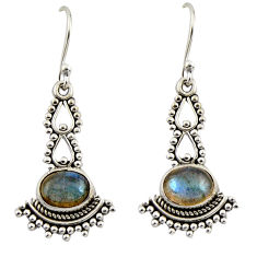 4.19cts natural blue labradorite 925 sterling silver dangle earrings r42413