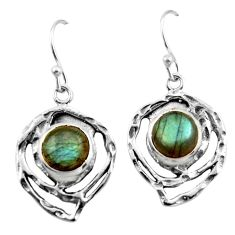 6.28cts natural blue labradorite 925 sterling silver dangle earrings r42870