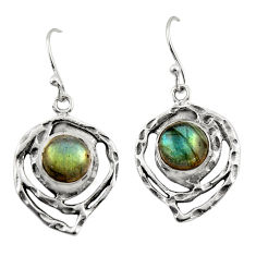 6.22cts natural blue labradorite 925 sterling silver dangle earrings r42874