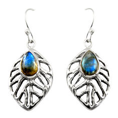 4.58cts natural blue labradorite 925 sterling silver dangle earrings r42891