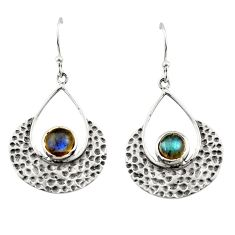 1.77cts natural blue labradorite 925 sterling silver dangle earrings r42892