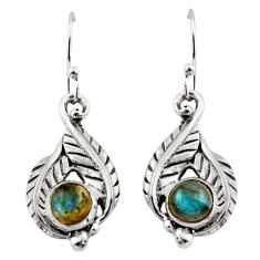2.13cts natural blue labradorite 925 sterling silver dangle earrings r42915