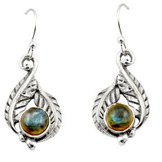 1.83cts natural blue labradorite 925 sterling silver dangle earrings r42936