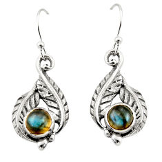 1.97cts natural blue labradorite 925 sterling silver dangle earrings r42937