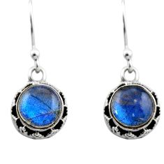 4.87cts natural blue labradorite 925 sterling silver dangle earrings r53042