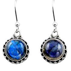 5.83cts natural blue labradorite 925 sterling silver dangle earrings r53043