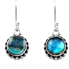 4.67cts natural blue labradorite 925 sterling silver dangle earrings r53048