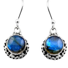 5.05cts natural blue labradorite 925 sterling silver dangle earrings r53049