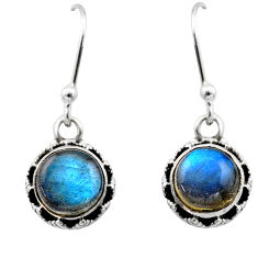 5.11cts natural blue labradorite 925 sterling silver dangle earrings r53059