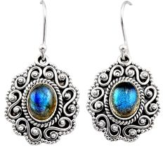 4.21cts natural blue labradorite 925 sterling silver dangle earrings r54129