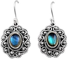 4.38cts natural blue labradorite 925 sterling silver dangle earrings r54130