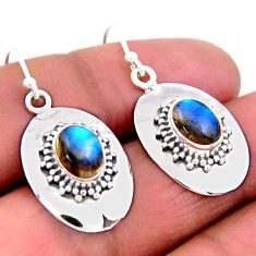4.22cts natural blue labradorite 925 sterling silver dangle earrings r54150