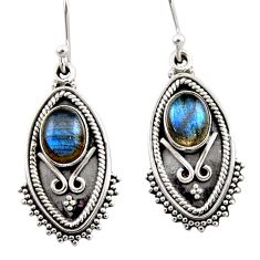 4.52cts natural blue labradorite 925 sterling silver dangle earrings r54169