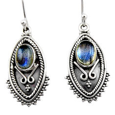 4.52cts natural blue labradorite 925 sterling silver dangle earrings r54170