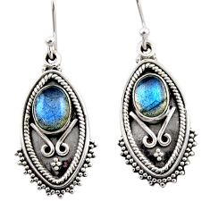 4.52cts natural blue labradorite 925 sterling silver dangle earrings r54171