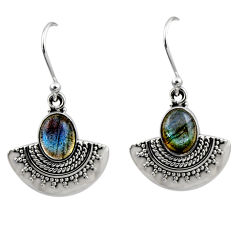 4.47cts natural blue labradorite 925 sterling silver dangle earrings r54197