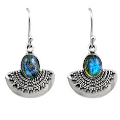 4.48cts natural blue labradorite 925 sterling silver dangle earrings r54199
