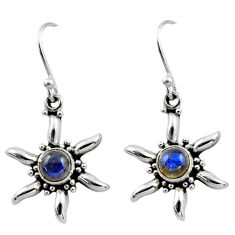 0.92cts natural blue labradorite 925 sterling silver dangle earrings r54238