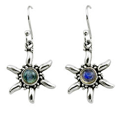 0.98cts natural blue labradorite 925 sterling silver dangle earrings r54240