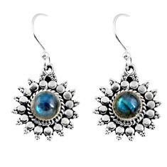 2.81cts natural blue labradorite 925 sterling silver dangle earrings r55168