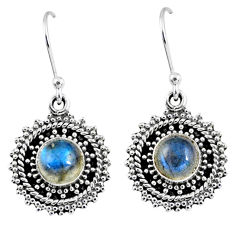2.81cts natural blue labradorite 925 sterling silver dangle earrings r55196