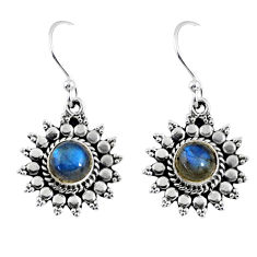 2.70cts natural blue labradorite 925 sterling silver dangle earrings r55197