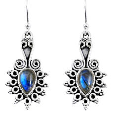 3.98cts natural blue labradorite 925 sterling silver dangle earrings r55211