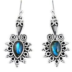 3.82cts natural blue labradorite 925 sterling silver dangle earrings r55213