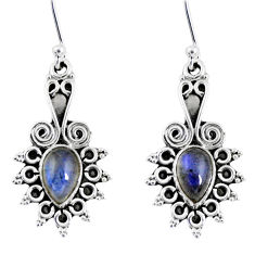 3.98cts natural blue labradorite 925 sterling silver dangle earrings r55217