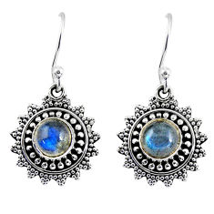 2.33cts natural blue labradorite 925 sterling silver dangle earrings r55240