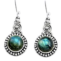 5.11cts natural blue labradorite 925 sterling silver dangle earrings r55248