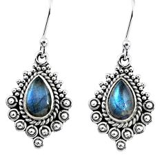 4.28cts natural blue labradorite 925 sterling silver dangle earrings r55249
