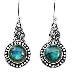 4.84cts natural blue labradorite 925 sterling silver dangle earrings r55252