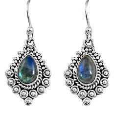 4.28cts natural blue labradorite 925 sterling silver dangle earrings r55253