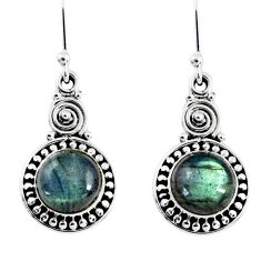 5.38cts natural blue labradorite 925 sterling silver dangle earrings r55256