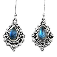 4.28cts natural blue labradorite 925 sterling silver dangle earrings r55260