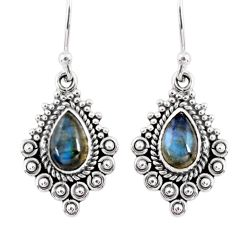 4.08cts natural blue labradorite 925 sterling silver dangle earrings r55276