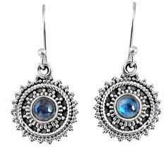 1.82cts natural blue labradorite 925 sterling silver dangle earrings r59518