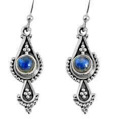 1.62cts natural blue labradorite 925 sterling silver dangle earrings r59556
