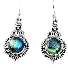 6.39cts natural blue labradorite 925 sterling silver dangle earrings r59656